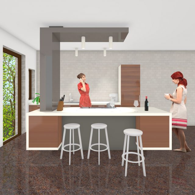 Design kitchen piece C kitchen: front view including users