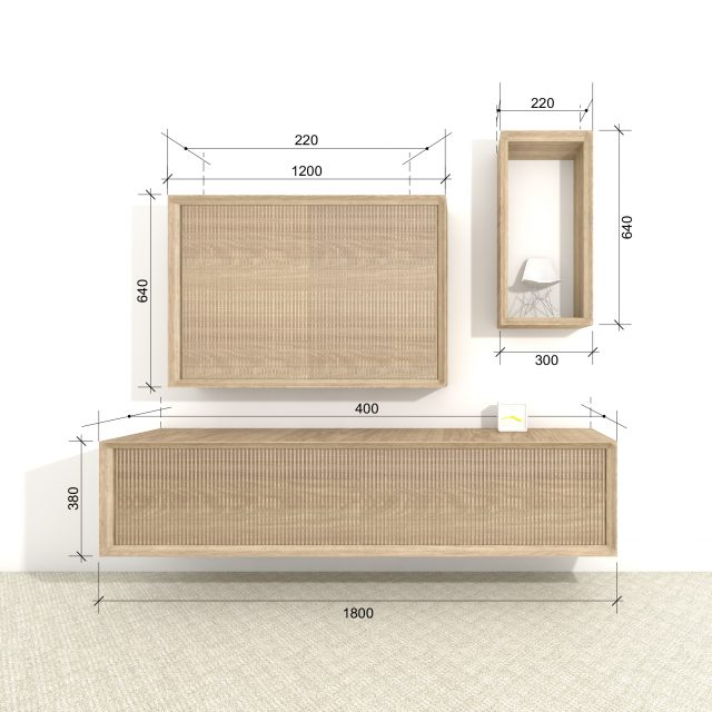 Design cabinet Hide set of 3, front view including dimensions