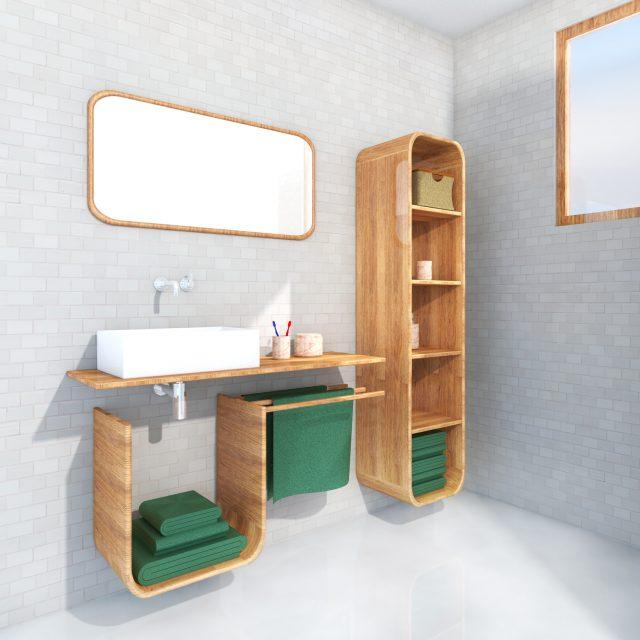 Impression bathroom set of 3 Rinse & Fold, angle